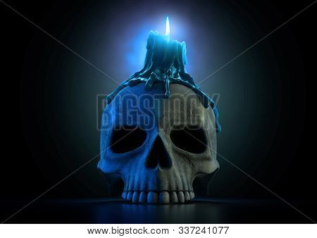 A Macabre Concept Showing A Human Skull Topped With A Melting Candle With A Blue Flame On An Isolate