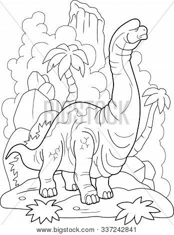 Giant Prehistoric Dinosaur Brachiosaurus, Coloring Book, Funny Illustration