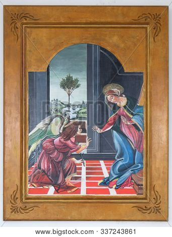 OHRID, MACEDONIA - MAY 04, 2019: Annunciation of the Virgin, altarpiece in the Catholic church of St. Cyril, Methodius and St. Benedict in Ohrid, Macedonia