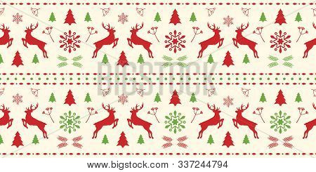 Christmas Scandinavian White, Red And Green Seamless Pattern With Gorgeous Deer And Snowflake. Winte