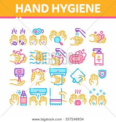 Hand Healthy Hygiene Collection Icons Set Vector Thin Line. Hand Protection, Washing With Anti Bacte