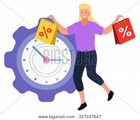 Female Character Buying Products On Sale On Limited Time. Isolated Woman Carrying Bags And Smiling.