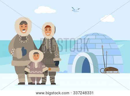 Family Consisting Of Man And Woman With Child. Arctic People Outdoors Standing By Igloo Made Of Ice