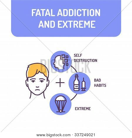 Fatal Addiction And Extreme Color Line Icon. Excessive Continuous Use Of Prohibited Substances. Pict