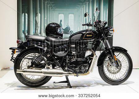 Bangkok, Thailand - Decemebr 3, 2019 : Benelli Imperiale 400 Italian Motorcycle Bike, Has Its Work C