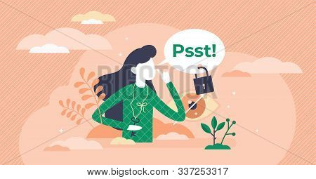 Secret Vector Illustration. Private Information In Flat Tiny Persons Concept. Privacy Sign And Confi