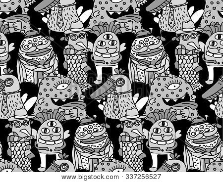 Group Fashion Aliens Different Freaks Grayscale Seamless Pattern