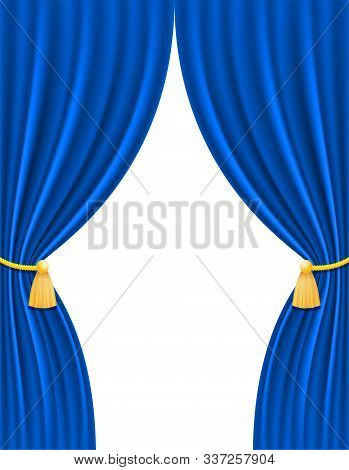 Blue Theatrical Curtain For Design Vector Illustration Isolated On White Background