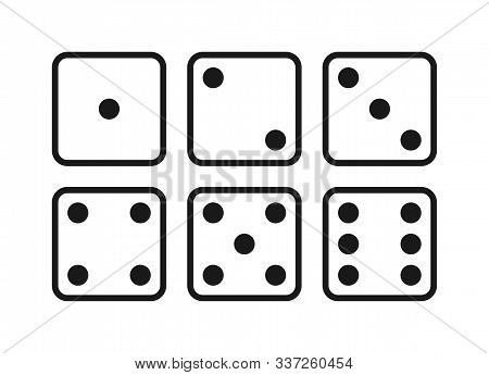 Dice Graphic Icons Set. Six Different Side Of Cube With Numbers From 1 To 6. Dice Signs Isolated On