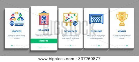 Soccer Football Game Onboarding Mobile App Page Screen. Soccer Playing Ball, Player And Arbitrator M