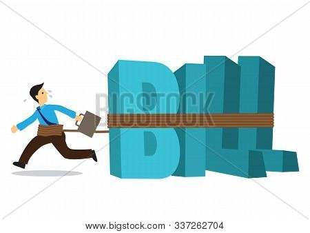 Businessman Tied To A Huge Weight Of Bills. Business Concept Of Debtor, Financial Problem Or Bad Eco