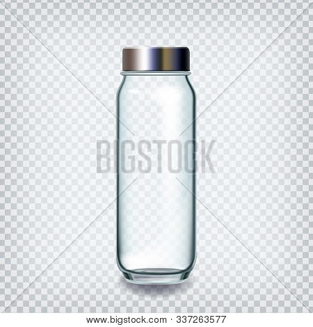 Glass Bottle Closed By Silver Cap For Water Vector. Empty Bottle With Chrome Lid For Healthy Drink,