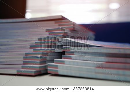 Stack Of Paperwork Files Document Management Concept: Applicant Filing File Of Pile Documents Report