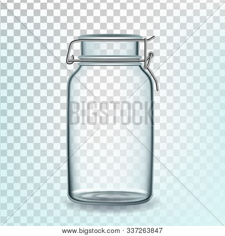 Glass Can Empty Container For Storage Pasta Vector. Closed Glass Bottle For Spaghetti, Wheat Or Unco