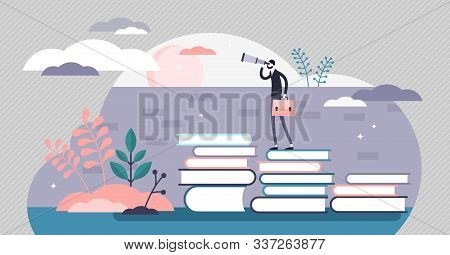Knowledge Vector Illustration. Smart Wisdom Persons In Flat Tiny Concept. Wider And Far Reaching Vis