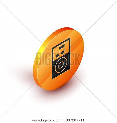 Isometric Music Player Icon Isolated On White Background. Portable Music Device. Orange Circle Butto