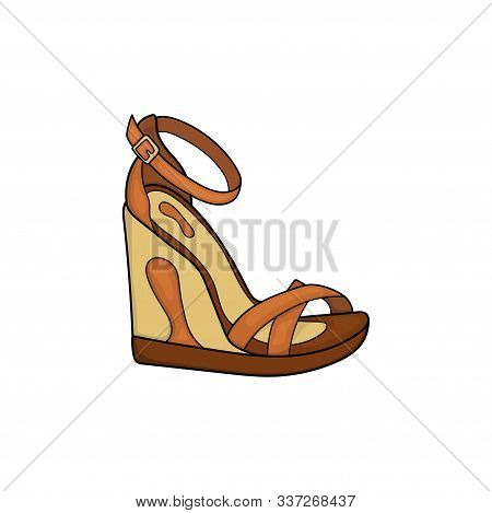 Female Wedge Shoe Vector Icon, Illustration Of Brown Wedge Shoe Design With Straps For Women Isolate