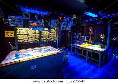 San Diego, Navy Pier, California, Usa - July 31, 2018: Dark War Room With Battle Stations And Instru