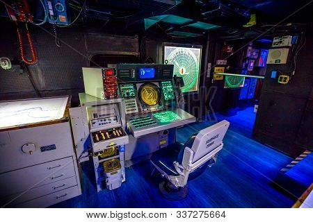 San Diego, Navy Pier, California, Usa - July 31, 2018: Operations Room With Lights On Instruments, C