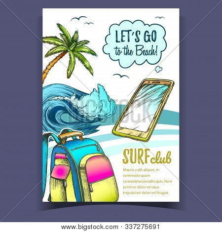 Backpack, Smartphone, Palm And Wave Banner Vector. Mobile Phone, Ocean Wave, Tropical Tree And Birds