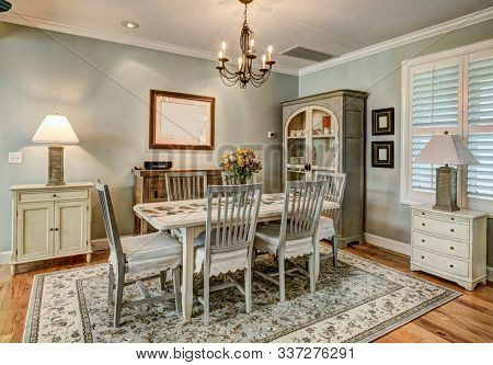 Beautiful traditional dining room in American style home.