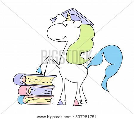 Cute Fabulous Unicorn Isolated On A White Background. Unicorns Is Walking And Humming A Song.