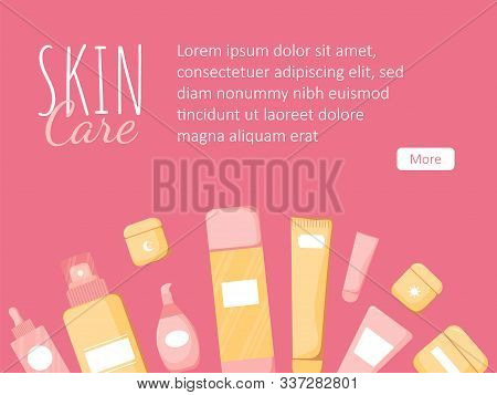 Gorizontal Template With Cute Skincare Cosmetics Icons In Cartoon Style. Beauty Woman Face Nature Co