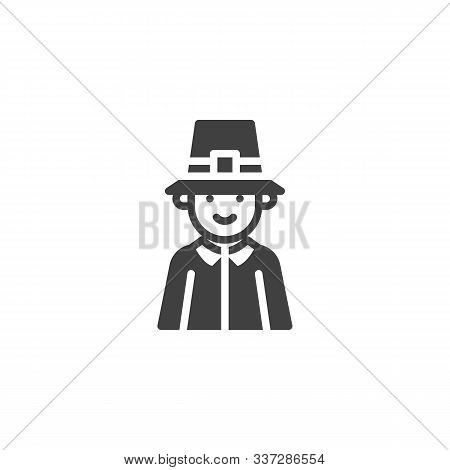 Thanksgiving Pilgrim Man Vector Icon. Filled Flat Sign For Mobile Concept And Web Design. Pilgrim Ma