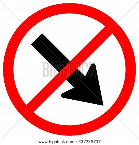 Forbid Keep Right By The Arrow Red Circle Traffic Road Sign,vector Illustration, Isolate On White Ba