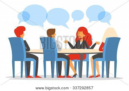 Business Meeting In Conference Room Vector Isolated