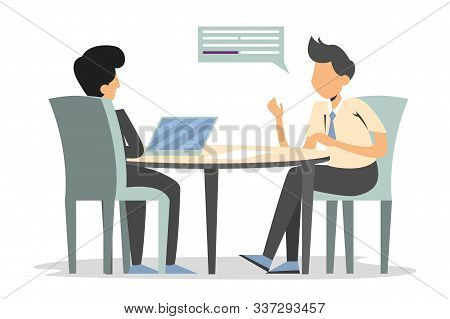 Man On A Job Interview Vector Isolated. Business People