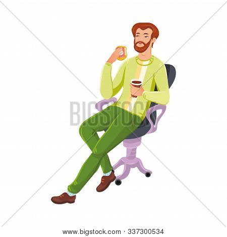 Bearded Man Sitting On The Armchair With Coffe Or Tea Mug And Donut . Vector Colorful Illustration I