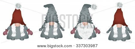 Scandinavian Folklore Christmas Gnomes Collection Nisse Or Tomte Dwarf Or Elf In Red Hat. Cute Nordi