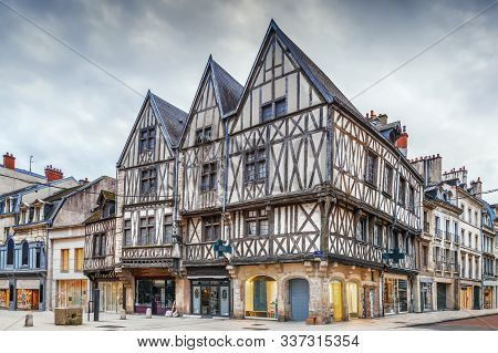 Street With Historical Half-timbered Houses In Dijon, France