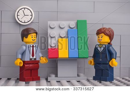 Tambov, Russian Federation - November 23, 2019 Two Lego Minifigure Businessmen Having A Meeting And