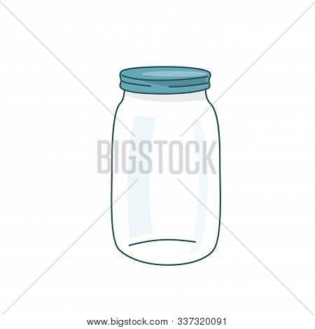 Empty Glass Jar Vector Illustration With Lid. Cap Close Blank Mason Bottle. Simple Flat Cartoon Back