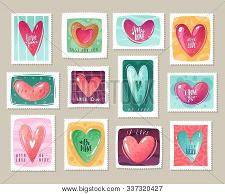 Valentines Day Cartoon Hearts Stamps Set. Set Of Postage Stamps With Decorative Hearts And Lettering