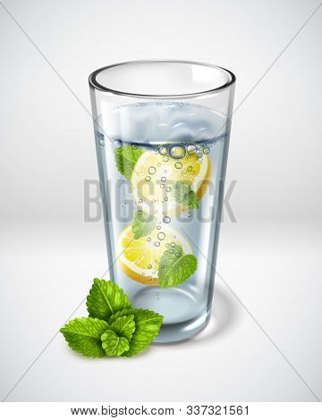 Realistic Glass Glasses Poster. Realistic Detailed Green Leaves Mint. Greens In A Clear Glass Of Wat