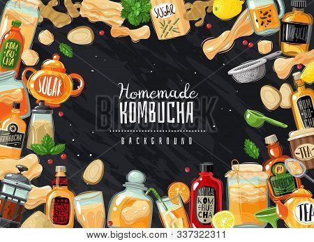 Kombucha Tea Frame Illustration. Kombucha Fermented Probiotic Tea Horizontal Frame Illustration. Cha