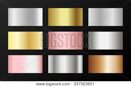 Glossy Golden, Silver, Bronze, Pink Gold Gradients. Metallic Foil Texture Silver, Steel, Chrome, Pla