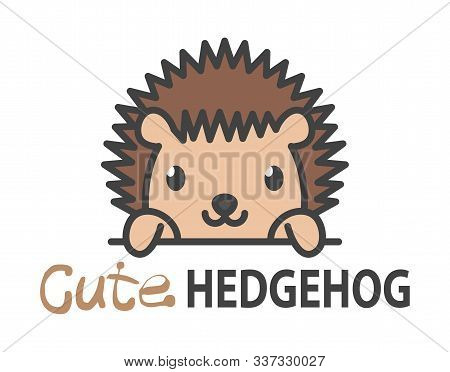 Logo Template With Cute Curious Small Hedgehog. Vector Logo Design Template For Zoo, Veterinary Clin