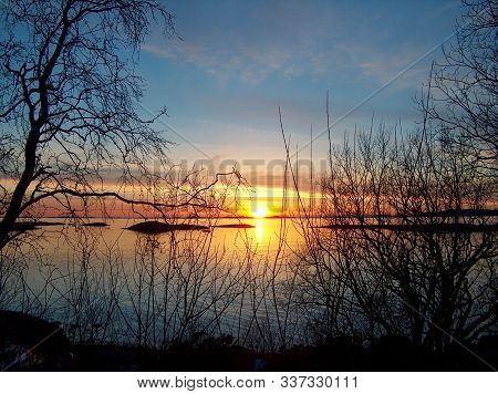 In Images A Beautiful Sunset At Lake Chiem Chiemsee, Bavaria, Germany
