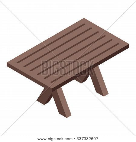 Bbq Patio Table Icon. Isometric Of Bbq Patio Table Vector Icon For Web Design Isolated On White Back