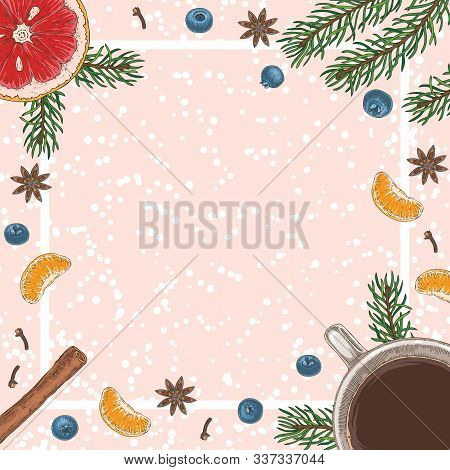 Christmas Square Card Or Menu Template With Coffee, Blueberry, Grapefruit, Tangerines, Spices And Fi