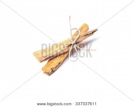 Two Palo Santo Tree Incense Sticks Isolated On White Background. Esoteric Concept.