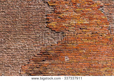 Ancient Roman Bricks Wall Abstract Saint Mary Angels And Martyrs Rome Italy. Church Designed By Mich