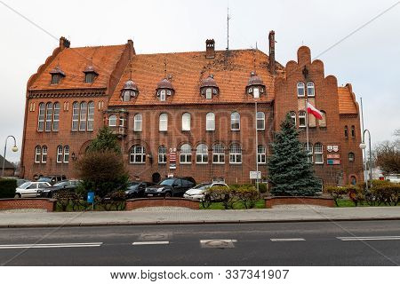 Czarnkow, Wielkopolskie / Poland – December, 03, 2019: Historic Building Of The Seat Of The City Aut