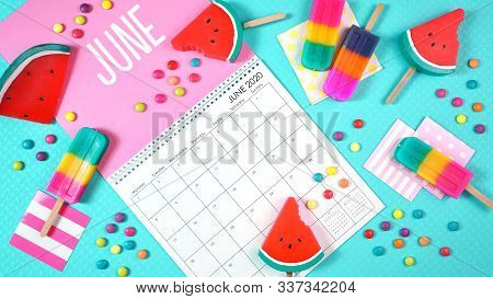 On-trend 2020 Calendar Page For The Month Of June Modern Flat Lay.