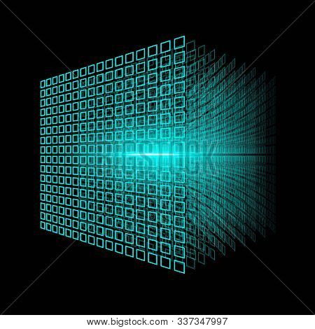 Blockchain Technology. Big Data Cube. 3d Geometric Cube From Small Pieces.