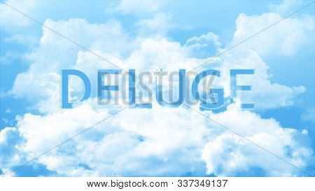 Word Deluge In The Clouds And Colorful Sky, Business Concept For Presentation